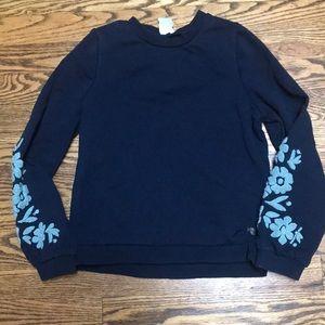 Navy Carrement Beau sweatshirt with chenille trim
